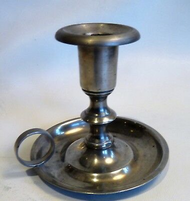 Antique American Pewter Chamberstick, signed, by Roswell Gleason