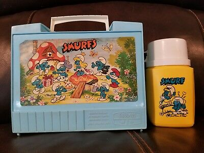 RARE Vintage Smurfs Plastic Lunchbox Thermos Made in England Roughneck Lunch Kit