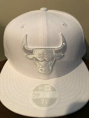 856eb491523 ... top quality chicago bulls new era nba all white 59fifty cap size 7 5 8  f485a