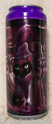 NEW Cool Gear Can PURPLE REFLECTIVE CAT 16 oz. Travel Drink Water Cup HALLOWEEN