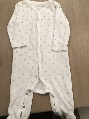 The Little White Company Blue Velour Sleepsuit 6-9 Months