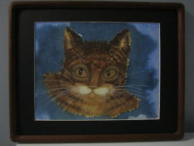Original Watercolor Painting of Cat Matted, Framed and Signed