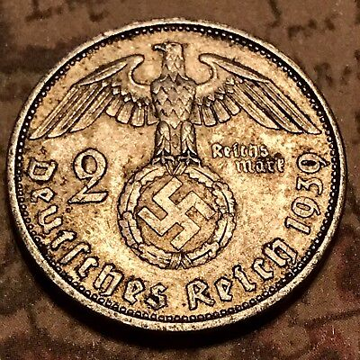 the rare 1939-A SILVER EAGLE German WW2 Coin Nazi Army War Old Antique US Europe