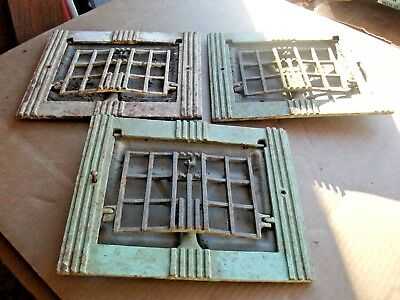"""3X Heat Air grate wall register 12"""" x 9 1/2"""" old raised front circa 1920-Work!"""