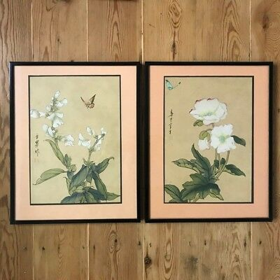 Pair of Japanese Silk Paintings | Flowers Butterfly | Framed | Signed
