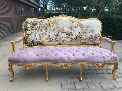 Beautiful French Louis Xvi Sofa/settee/love-Seat Gobelin