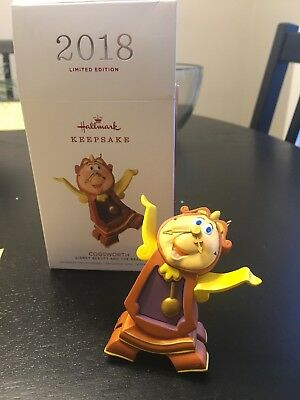 2018 Hallmark Keepsake Ornament COGSWORTH Disney Beauty and the Beast Limited Ed