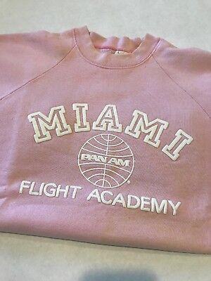 Pan Am Airlines Miami Flight Academy Sweatshirt Pink Size L Preowned