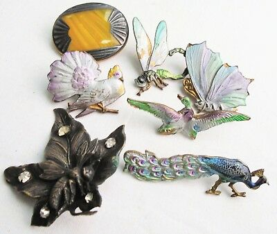 Seven gorgeous vintage Deco hat pin tops (gold metal, enamel, dragonfly, bird)