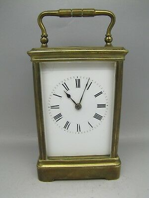 Antique French Henri Jacot Carriage Clock 5 Glass Mantel Gilt Brass 1880