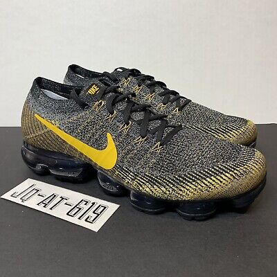 low priced ff9e2 a8024 Nike Air Vapormax Flyknit Mens Size 12 Black Mineral Gold Dark Grey 849558- 021