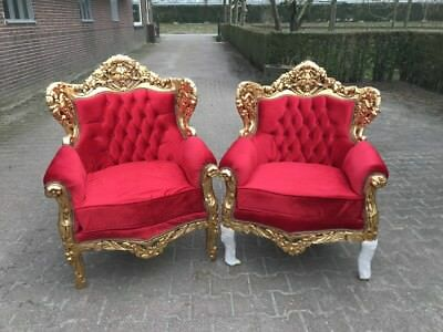 Baroque Pair Of Chairs In Red Velvet With Gold Leaf Frame