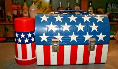 Vintage Aladdin Dome Red, White, Blue Stars Stripes Lunch Box w/ Thermos Metal