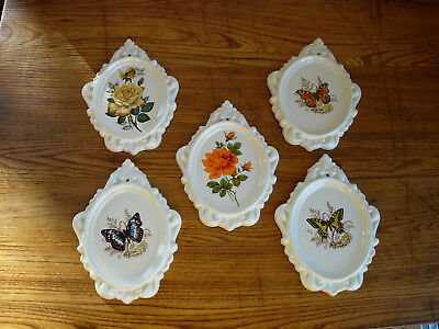 Set Of 5 Vintage Butterfly & Flowers Ceramic Wall Plaques
