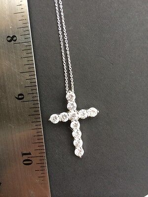 "Sterling Silver Cross Pendant Chain  Necklace 18"" With Clear Crystals Vintage"