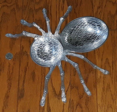 NEW Halloween LARGE Silver Metal Spider Insect Dish Bowl Decoration