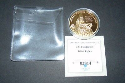 American Mint Us Constitution Bill Of Rights 1st Amendment Coin Gold Layered B