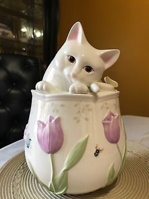Lenox Porcelain China Butterfly Meadow Cat Kitten Cookie Jar New