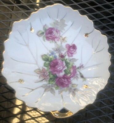 "Vintage UCAGCO CHINA Hand Painted Leaf Shaped Plate Dish From JAPAN 9"" Dia. Gold"