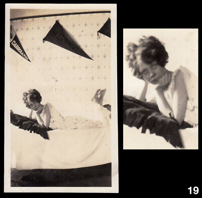 STRANGE SEX WEIRD WOMAN in BED & COLLEGE PENNANT WALL ~ 1910s VINTAGE PHOTO