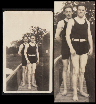 MUSCULAR COUNTRY BUMPKIN MEN SECRET GAY PIER ~ 1910s VINTAGE PHOTO