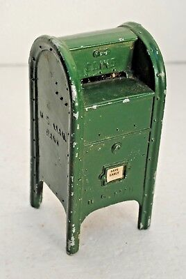 Vintage Green U.S. Post Office Mail Box Bank