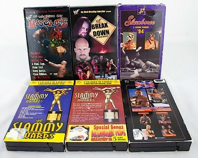 Lot 6 Vintage 90's WWF WWE WCW Wrestling VHS Tapes Slammys In Your House