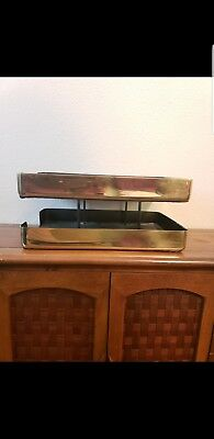 Vintage Mid Century Knoll Extra Brass Gold 2-Tier Letter Organizer Tray Eames