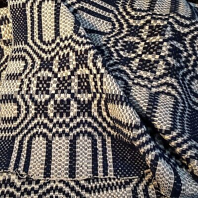 "UNUSED 19thC ANTIQUE Woven JACQUARD Reversible COVERLET 72""x37 INDIGO BLUE/CREAM"