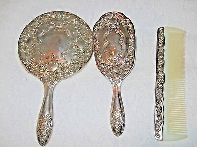 Vintage Silver plated Mirror Comb Brush Vanity Set of 3 Pieces