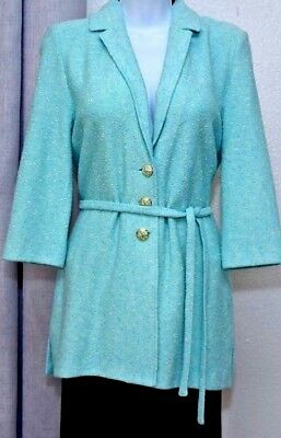 ST.JOHN Collection by Marie Gray Womens Knit Light Blue Boucle Long Jacket Sz 6