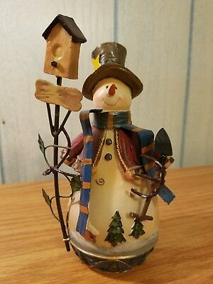 Snowman Figurine with Birdhouse on Pole and Shovel