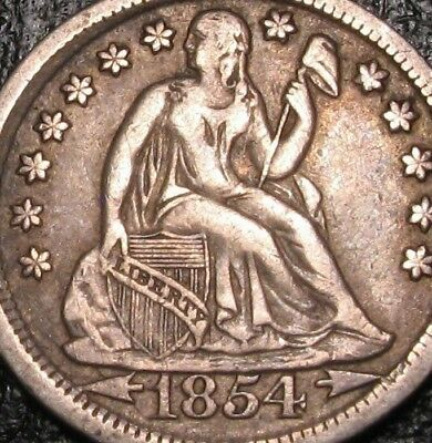 Old Us Coins Silver Higrade 1854 Seated Liberty Seated Dime Arrows Beauty