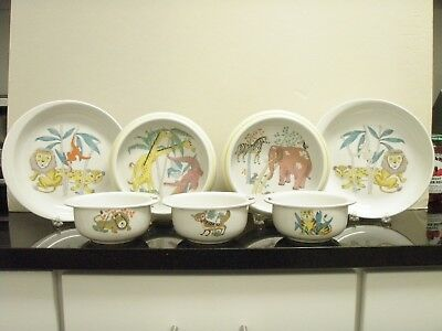 Langenthal Swiss Porcelain 17 Childrens Zoo Feeding Pieces Colorful Charming
