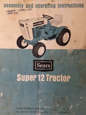 Sears 917.25511 Super 12 SS-12 Lawn Garden Tractor Owner & Parts (2 Manual s) HP