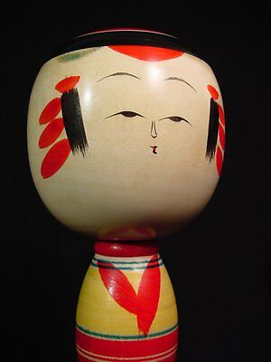 "Kokeshi Doll Mid Century Yajiro Traditional School Artist Signed 9.63"" Tall"