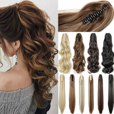 Long Wavy Real Human Hair Ponytails Hairpiece Claw Clip Ponytail Hair Extensions
