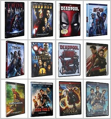 Lot of Marvel's DVDs Thor 1 2 3 Iron Man 123 Dr. Strange Ant-man and Deadpool 12