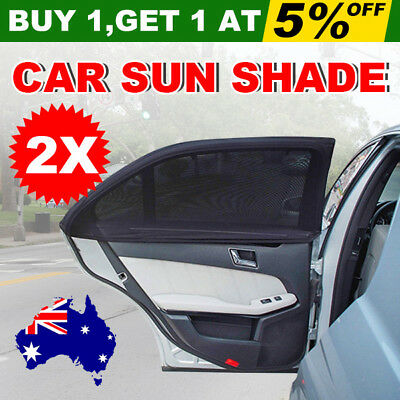 2x Car Window Sun Shades Cover Rear Side Kids Baby UV Block Protection Mesh YW