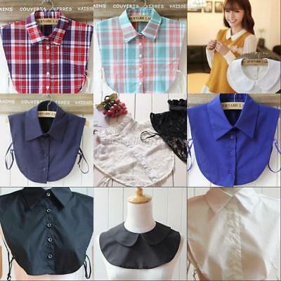 US Detachable Women Fake Collar Dickey Blouse Shirt Cotton Plaid Solid Choker