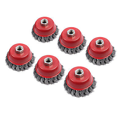 6pcs 75mm Steel Wire Cup Brush Wheel Twist Knot Knotted Wheels Angle grinder M14