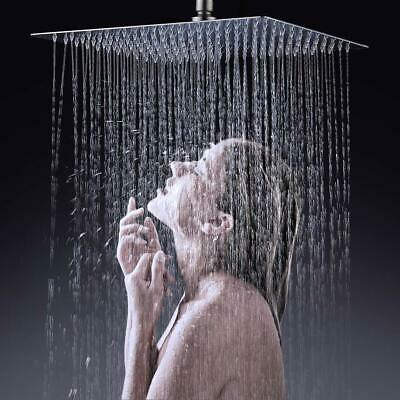 Brushed Nickel 16-inch Stainless Steel Square Rainfall Shower Head  Ultra Thin 1