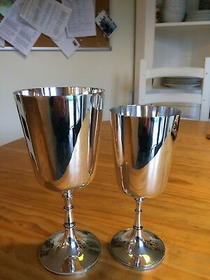Two Beautiful Mappin and Webb Silver Plated Wine Goblets