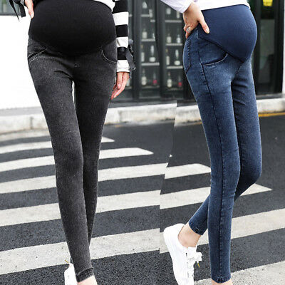Fashion Maternity Pregnancy Solid Skinny Trousers Jeans Over The Pants Elastic