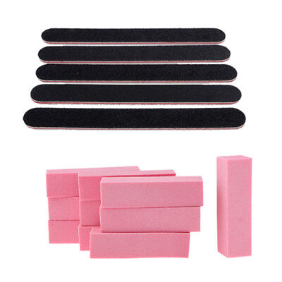 15Pcs Manicure Care Nail Files Double Sided Emery Boards Buffer Block Set