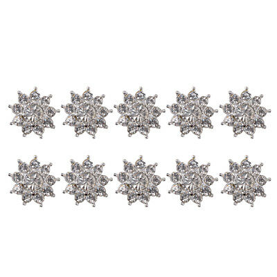 10x Crystal Flower Embellishments Rhinestone Buttons Wedding Flatbacks