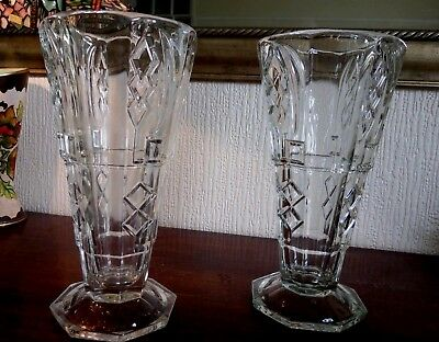 Antique Pair Large & Weighty Glass Art Deco Vases - Excellent Pair Look Fab !