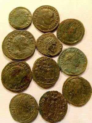 085.Lot of 11 Ancient Roman Bronze Coins,Uncleaned