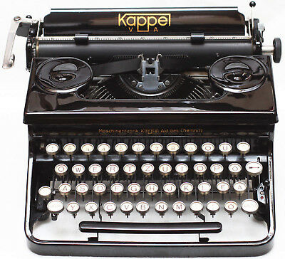 Kappel VA Manual Portable Typewriter Glass Keys Original Case & New Ribbon 1940s