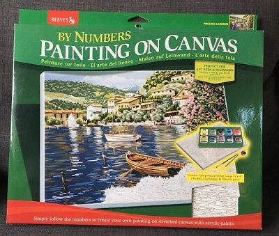 Reeves Painting By Numbers Lakeside Landscape Acrylics Gift Xmas Canvas Art Set